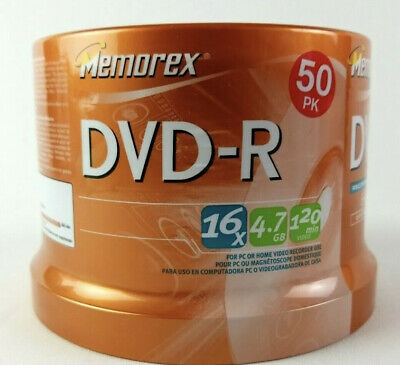 New Memorex DVD-R 50 Pack 16x 4.7GB 120 Min Sealed Spindle Package Same day So!