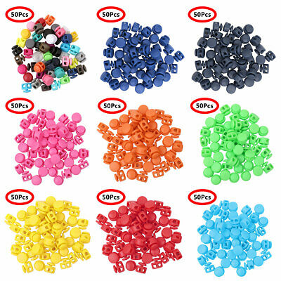 20pc Toggle Cord Stopper Locks End Drawstring Spring Loaded With Hole Button HD3