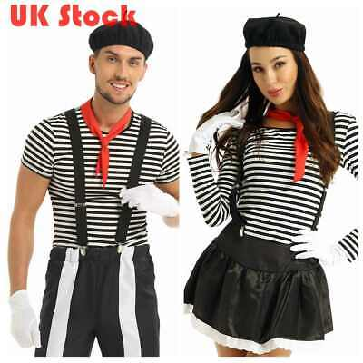 Naughty Mime Artist Costume French Circus Pierrot Clown Fancy Dress Outfit