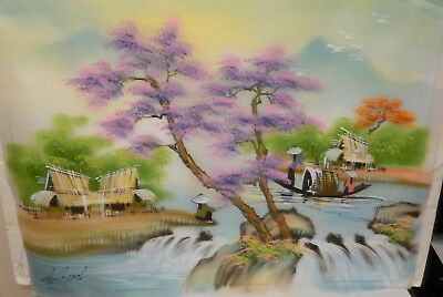 Chinese Original Watercolor On Silk Village River Painting Signed #3