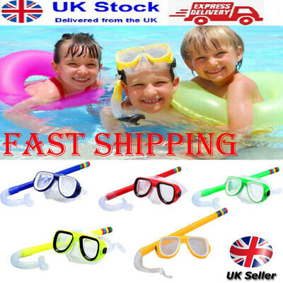 Kids Diving Mask Snorkel Set Anti Fog Goggles Swimming Dry Tube ECO PVC UK,