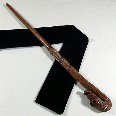 "14"" Dolohov Hand Carved Mahogany Wood Magic Wand Wizard Wicca w/ Free Velvet Bag"