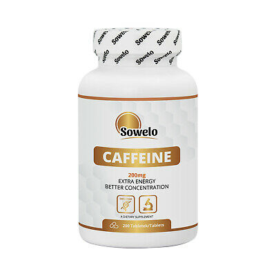 SOWELO CAFFEINE 200mg TABLETS ADDS ENERGY FOCUS & CONCENTRATION IMPROVES MOOD
