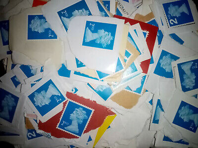 100 Unfranked 2nd Class Stamps all Blue On Paper - Pre Security