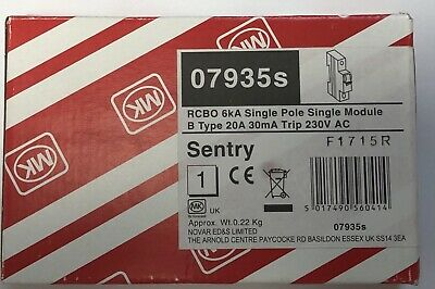 MK Sentry 7935S 20 AMP RCBO TYPE B 6kA 30mA Brand new in box