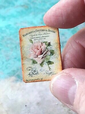 Dollhouse Miniature Pillow Eiffel Tower Roses Shabby Chic Country Charm 1:12