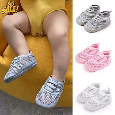Baby Girls Boys Solid Mesh Canvas Trainers Infant Sneaker Casual Crib Pram Shoes