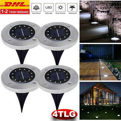 4 Tlg 16 LED Solar Power Buried Licht Bodenleuchte Outdoor Garten Terasse Neu
