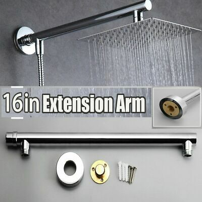 "40cm 16/"" Bathroom Square Chrome Wall Mounted  Shower Extension Arm Shower Head"