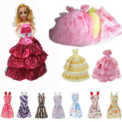 12Pcs for Barbie Doll Clothes Set Wedding Gown Dresses Party Prom Beach Dress