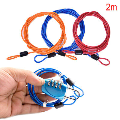 US 2Pcs 2m Double Loop Cables Rope Bike Braided Steel Chains Door Lock Safe New