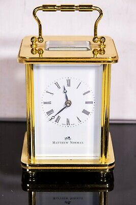 Vintage Gilt / Brass Swiss Made Mechanical Carriage Clock By Matthew Norman