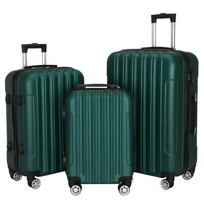 New 3x Travel Spinner Luggage Set Bag ABS Trolley Carry On Suitcase w/TSA Green