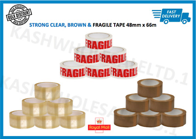 12x LONG LENGTH PACKING TAPE STRONG - BROWN/CLEAR/FRAGILE 48mm x 66M PARCEL TAPE