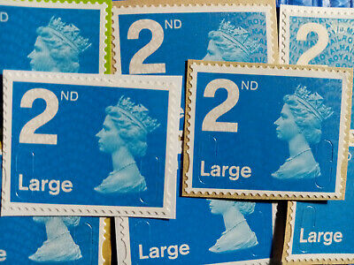 50 Unfranked 2nd Class Security Stamps Large Letter On Paper -Excellent Conditio