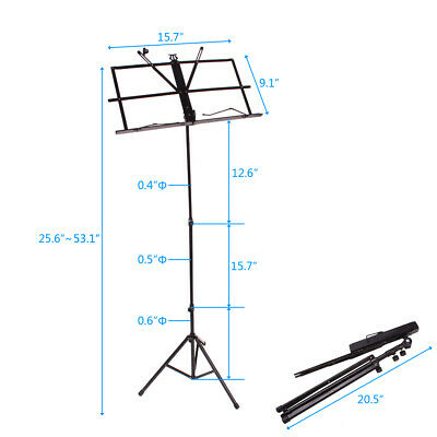 Handy Adjustable Protable Folding Music Sheet Stand for Musicians with Gift Bag