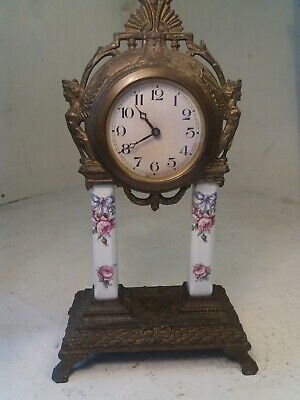 Antique Gilt Metal , Porcelain Column Mantel Clock