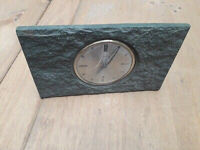 Smiths Mantle Clock In Stone Spares/repair Cracked Plastic Face