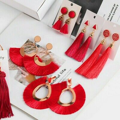 Fashion Women Bohemian Long Tassel Fringe Boho Ear Drop Dangle Earrings Jewelry