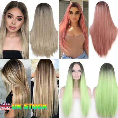 """Womens Ladies 28"""" Real Natural Long Straight Hair Ombre Wigs Full Wig Halloween"""