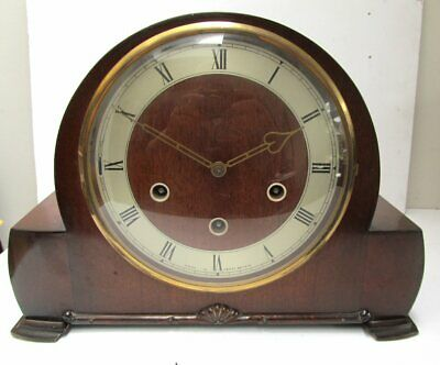 Vintage Smiths Westminster Chiming Mantle Clock + Key & Pendulum