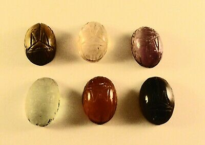 9 Vintage Hand Carved CARNELIAN SCARAB Beetle Beads Pendants Drops