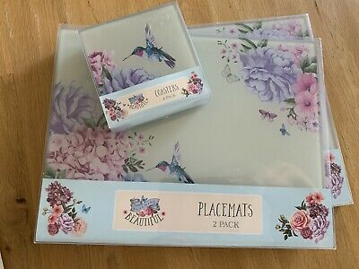 Blooming Beautiful Hummingbird Floral 4 Placemats & Coasters Glass  Kitchen