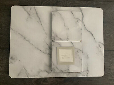 CONTEMPORARY SET 4 MARBLE GREY PLACEMATS 4 matching coasters