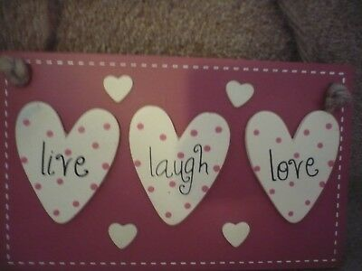 A Wooden Plaque Live Laugh Love An Unused Item In Original Packaging