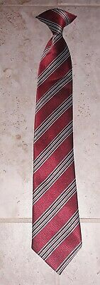 """New Boys GEORGE Polyester Red Black & Gray Striped Clip-On Neck Tie 15"""" x 2.5"""""""