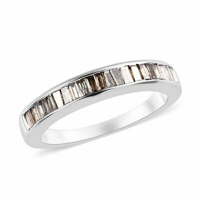 Champagne diamond 9ct White Gold Half Eternity Ring for Women , 0.5 Ct TJC