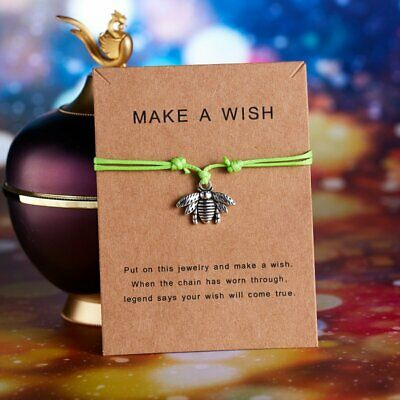 New Wish String Charm Adjustable Bracelet Friendship Heart Bangle Gift With Card