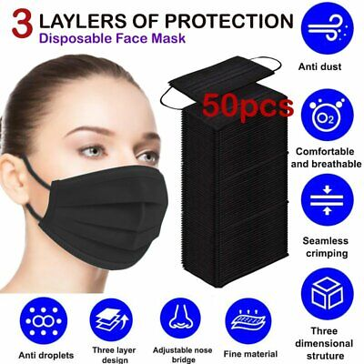 [50 PCS] Disposable Face Mask Non Medical Surgical 3-Ply Mouth Nose Cover Black