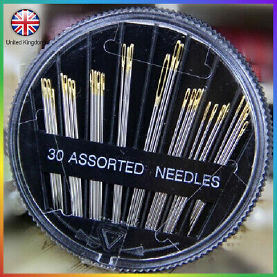 Round 30 Self Threading Sewing Boxes  Assorted Hand Sewing Needles  Mending UK