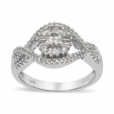 10ct White Gold White Diamond Ring for Women Cluster Size O, 0.5 Ct TJC