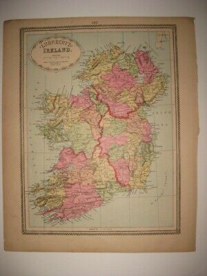 Superb Rare Antique 1885 Ireland Lubrecht Handcolored Map Railroad Dublin Fine