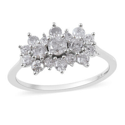 TJC 9ct White Gold SGL Certified Diamond (I3/G-H) Cluster Boat Ring 1.000 Ct.