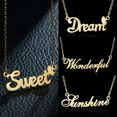 Stainless Steel Gold Letters Pendant Necklace Chain Personalized Jewellery Gifts