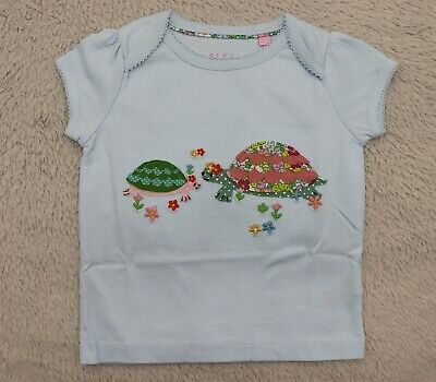 NEW Ex Baby Boden Mini Girls Embroidered Applique Pom Pom Top T-Shirt 3-6 months
