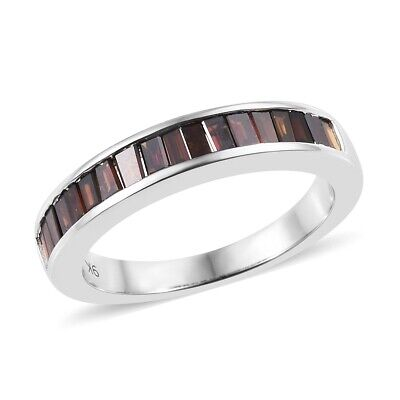 Red Diamond 9ct White Gold Half Eternity Ring for Women , 0.5 Ct TJC
