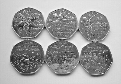 COMPLETE 2019 PETER PAN ISLE OF MAN 50p COIN SET - IoM MANX