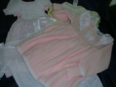 #AA Lot of 5 Lovely Vintage Baby Girl Clothes Knit Romper & Knit Dresses