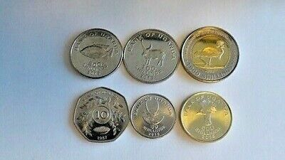 UGANDA COMPLETE COIN SET 1+2+5+10+50+100+200+500 Shillings 1987-2012 UNC LOT 8