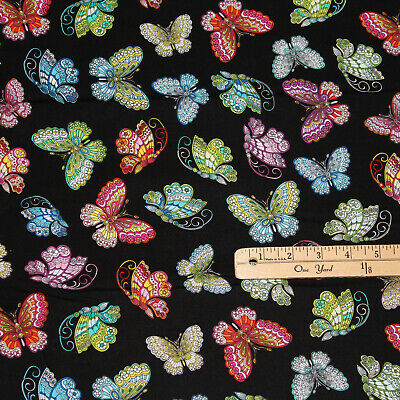 From KANVAS NEW Dazzling Colorful Butterflies All Over On Turquoise Blue Cotton Fabric Priced By The HALF Yard