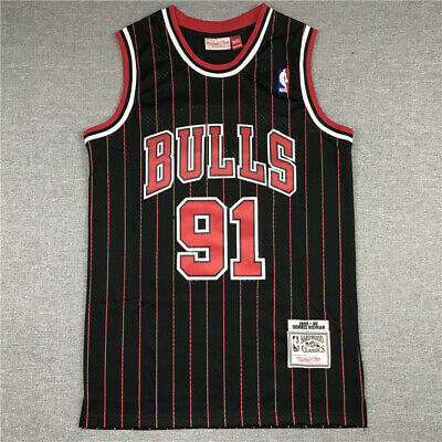 Rétro 95 96 Dennis Rodman #91 Chicago Bulls Basketball Stitched Jersey Maillots
