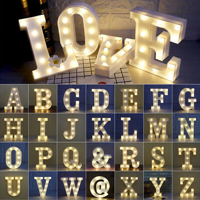 ALPHABET LETTERS LED LIGHT UP NUMBERS WHITE LETTERS STANDING HANGING SIGN 16cm L