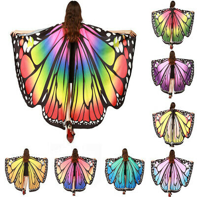 Halloween Butterfly Poncho Women Shawl Fairy Ladies Cape Nymph Pixie Costume PAN