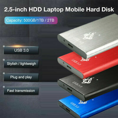 2.5'' USB 3.0 2TB 1TB Portable External HDD Hard Drive Disk  Fit For PC Windows