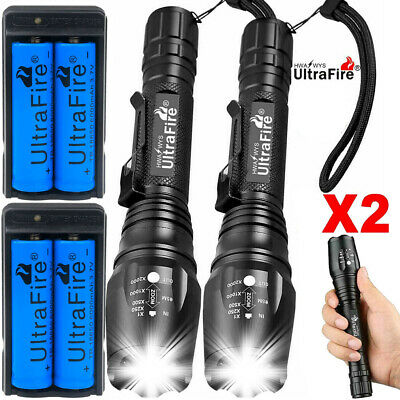T6 LED Rechargeable High Power 900000LM Zoom Torch Flashlight Lamp +battery