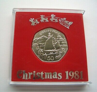 UNC 1981 ISLE OF MAN CHRISTMAS 50p COIN - PEEL HARBOUR & CASTLE IoM MANX XMAS